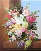 an arrangement of double hollyhocks by adelheid dietrich