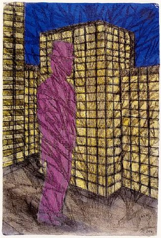 tower block and figure by john davies