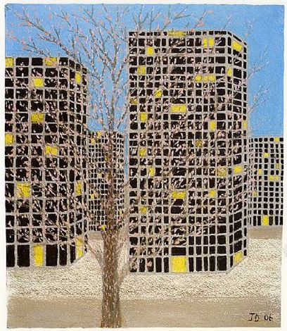 buildings - early spring by john davies