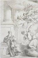l'annonciation / annunciation by laurent de (lahyre) lahire
