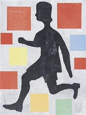five colour abstraction with running figure by donald baechler