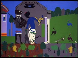 circe turns a companion of odysseus into a swine by romare bearden