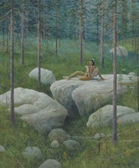 indian sitting on rock in woods by ned young