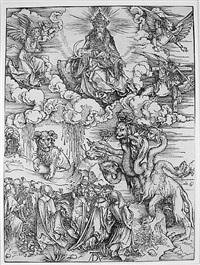 beast with two horns like a lamb from the apocalypse by albrecht dürer