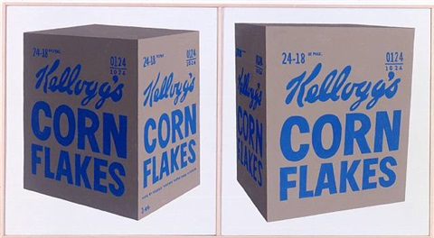 andy warhol, 'two kellogg's corn flakes boxes', 1964 by richard pettibone