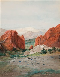 pike's peak from the garden of the gods by h. irving marlatt