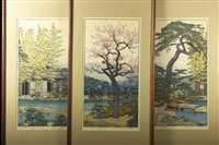 three japanese woodblock prints by toshi yoshida