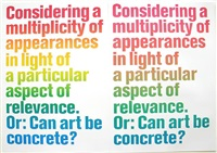 considering a multiplicity of appearances in light of a particular aspect of relevance. or: can art be concrete? by olaf nicolai