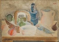 still life on table by jankel adler