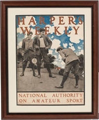 harper's weekly, national authority on amateur sport color by maxfield parrish