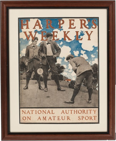 harpers weekly national authority on amateur sport color by maxfield parrish