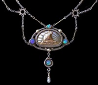 viking long ship - arts & crafts necklace by artificers' guild