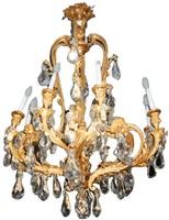 a gilt bronze and cut glass chandelier (134)