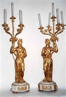 a pair of gilt-bronze figural candelabra (4)