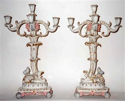 a pair of nymphenburg porcelain five-light candelabra (60)