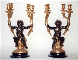 a pair of louis xv style gilt and patinated bronze four-light candelabra (145)