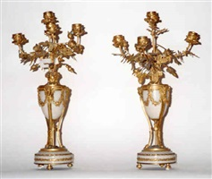 a pair of gilt-bronze and marble candelabra (151)