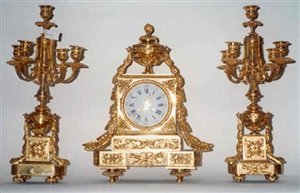 a gold plated clock set (1)