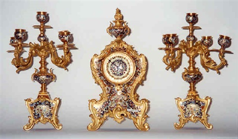 a french ormolu and champleve enamel garniture (41)