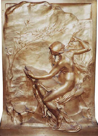 a french gilt-bronze plaque (334) by henri michel antoine chapu