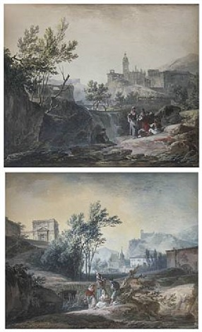 washerwoman before a waterfall in a rocky landscape, with classical buildings beyond; figures on the bank of a river in a rocky landscape, a medieval town beyond: by alexandre jean noel
