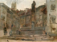 fontaine st. anne, friebourg (switzerland) by isaac israels