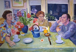 three friends at a table by nell blaine