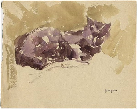 black cat sleeping, facing right by gwen john