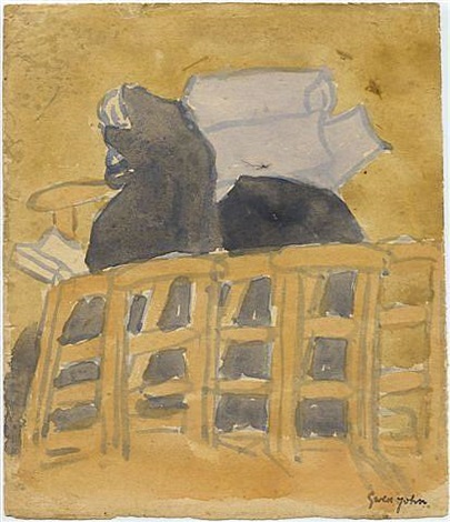 rear view of girl and nun sitting in church by gwen john