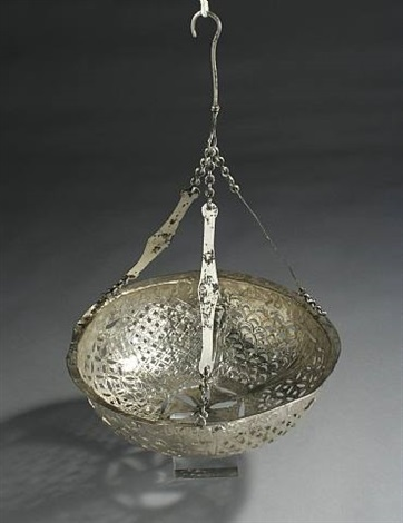 byzantine silver suspension lamp in open work technique