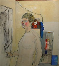 studio with self portrait by anne tabachnick
