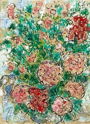 pivoines et couple by marc chagall