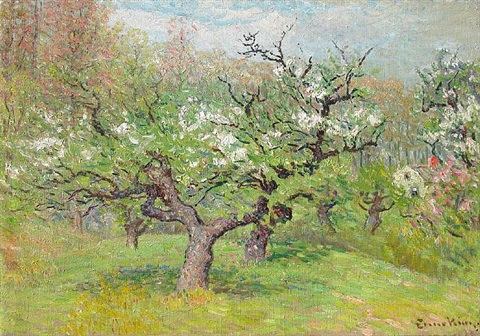 apple blossoms in spring by john joseph enneking