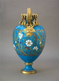 blue floral urn by christopher dresser
