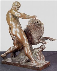 hercules wrestling the erymanthian boar by louis tuaillon