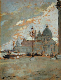a view of santa maria della salute from the piazzetta di san marco by pierangelo basorini