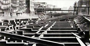 subway construction by louis lozowick