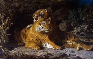 two tigers before a cave in a mountainous landscape by george sturm