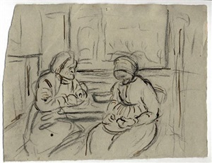 study for the last peasant-painters peeling potatoes (old woman mill) by sigrid holmwood