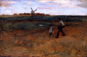leaving the fields by willard leroy metcalf