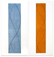 half column a and half column b (two works) by robert mangold