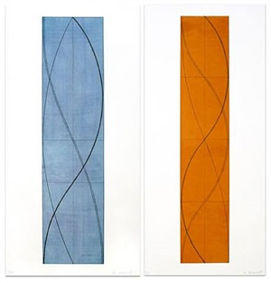 half column a and half column b (two works) by robert mangold