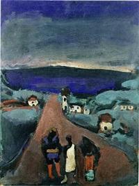 trois personnages dans un paysage de bretagne by georges rouault