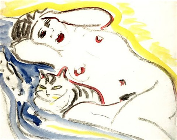 liegender weiblicher akt mit katze by ernst ludwig kirchner