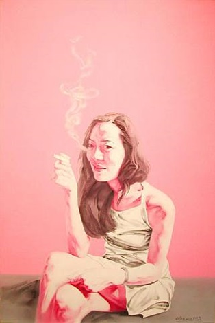 smoking woman in pink/white by he sen