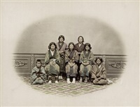 a group of ainu females by kuichi uchida