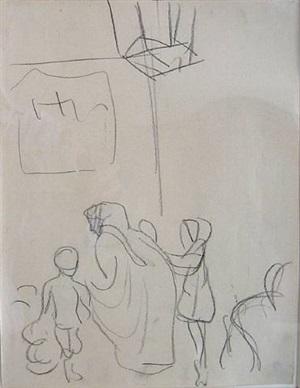 beduinenfrau mit kindern by august macke