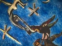acrobats & moon by ben-zion