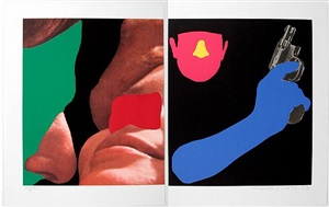 noses & ears etc.: couple and man with gun by john baldessari