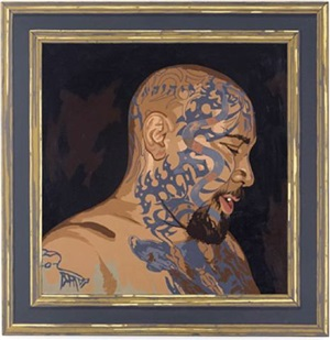 man with a tatooed head by matthew benedict